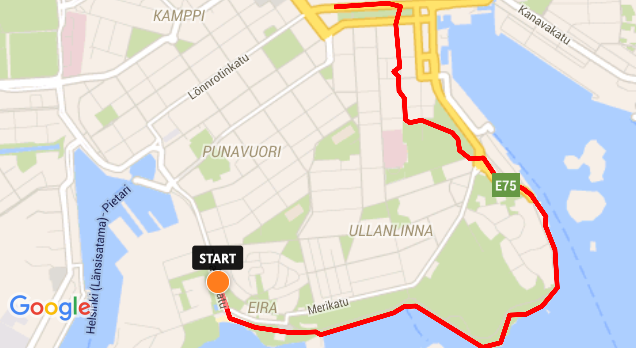 Walking route in Helsinki