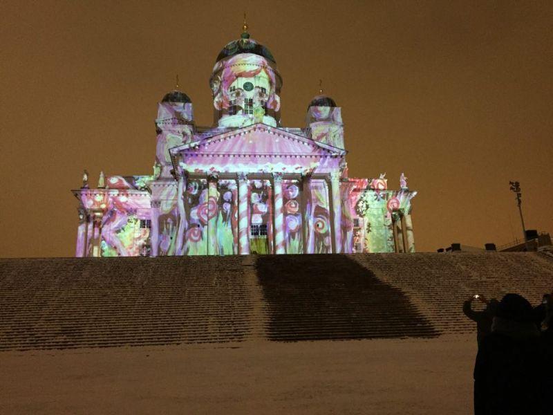 Lux Helsinki 2016 light festival at Senate square, Helsinki Cathedral in lights