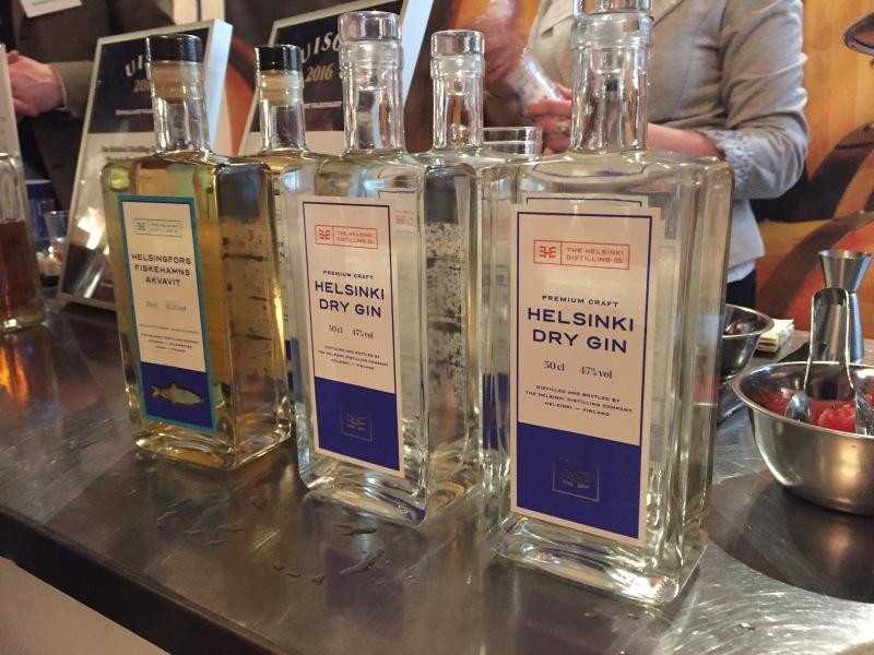 The Helsinki Distillning Company - Helsingfors Fiskehamns akvavit and Helsinki dry gin bottles