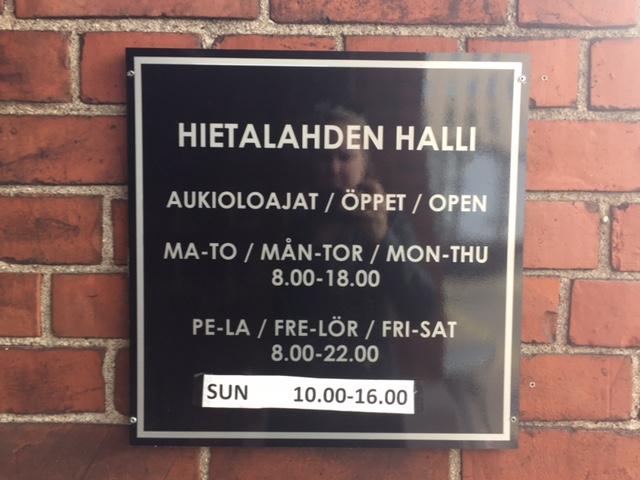 opening hours Hietalahden Halli aukioloajat